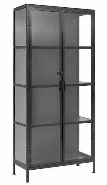 Nordal vitrineskab i jern med glaslåger og glashylder på 175 cm