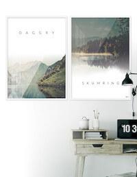 Plakater til stuen med 2 x daggry og skumring billeder