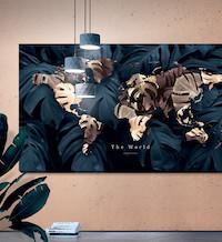 """Plakater til stuen med """"The world"""" flot blåtonet farve"""