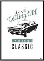 Quote med plakat med klassisk retro bil