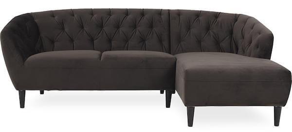 Ria Vic sofa med warm earth stofbetræk i klassisk look og sorte gummiben