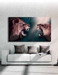 Stor akustik plakat med 2 flotte løver