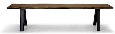Troense lang entrébænk på 190 cm med metal ben og smoked eg