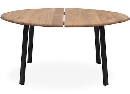 True rundt plankebord i træ med ben i sort pulverlakeret metal