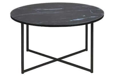 Alisa sort marmor bord med print og mat overflade