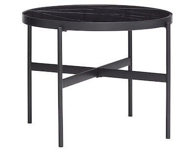 Hübsch lille sort rundt sofabord med glas og marmor