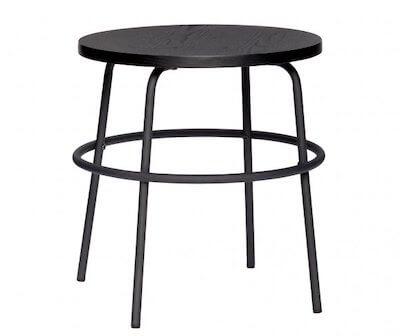 Hübsch rundt bord i træ og metal stel i enkelt design