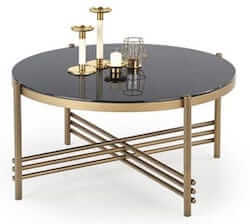 Ismena unik bord i guld pulverlakeret stål og sort bordplade