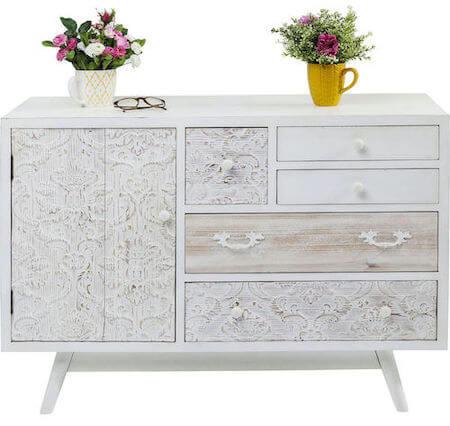 Kare design hvid romantisk skænk med 1 låge og 5 skuffer