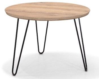 Lansing rustikt lille sofabord med sorte metalben og vintage bordplade