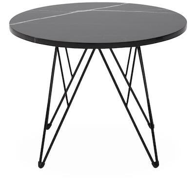 Neptun sofabord med sort stel og sort bordplade i marmor