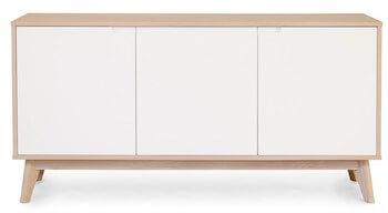 Nordic hvid 3 sektioners skænk med hvide låger og nordisk stil