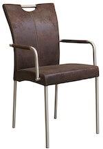 Asti rustik spisestol i rustfrit stål med brunt betræk