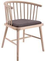 Christine spisebordsstol med armlæn i nordisk stil i sæbebehandlet egetræ