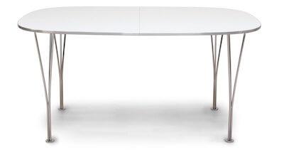 Colombus hvid spisebord med udtræk med kromfarvede ben i metal