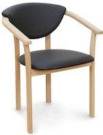 Derby massiv egetræs spisebord stol med sort PU læder