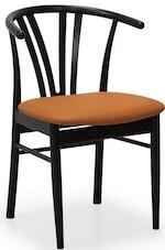 Devon sort spisebordsstol med armlæn i bøg og sæde i læder