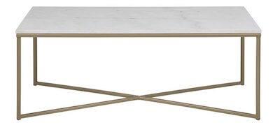 Dino sofabord - Smukt bord i hvid marmor kombineret med messing