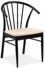 Esløv sort spisebordsstol med armlæn i massiv egetræ