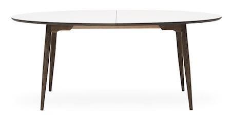 Haslev 7-H hvid spisebord med udtræk med oval form og laminat