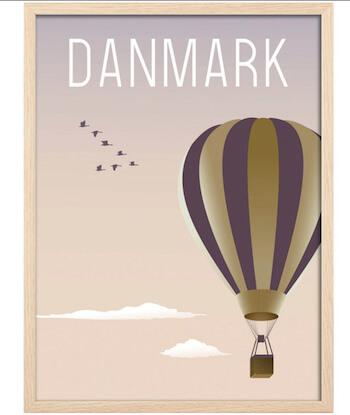 Hoei Denmark - Luftballon plakat med lys træramme