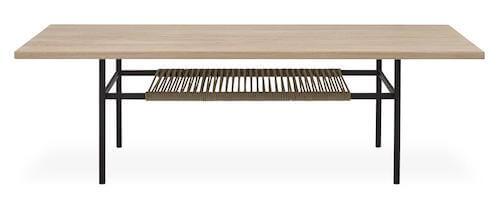 Plank bord i str. 140 x 43 x 60 cm i massiv eg og hylde af flettet reb