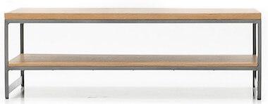 Toka sofabord med metalstel og eg sildebensmønster