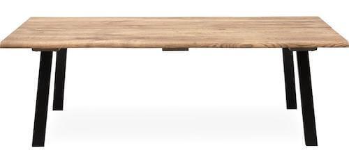 True sofabord i massiv røgfarvet egetræ og pulverlakeret ben