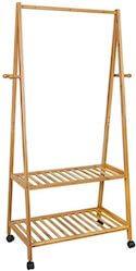 Bambus stativ med praktiske hylder og bremsehjul