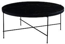 CANETT Tiago rund sofabord i sort marmor og sorte ben