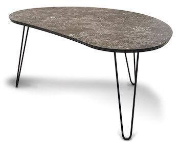 Easy marmor sofabord i dråbeform med sort marmor i højtrykslaminat