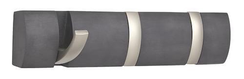 Flip knage - Lille askegrå knagerække og 3 sølvfarvede knager