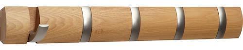 Flip knagerække - Udført i eg og med 5 knager i str. 51 x 7 cm