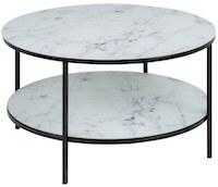 Frej sofabord med hylde i hvid marmor look og sort stel