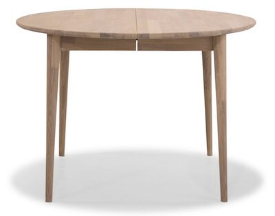 Futura rundt spisebord i smukt i hvidolieret eg