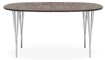 Haslev 1 spisebord med bordplade i olieret valnød og ben i krom