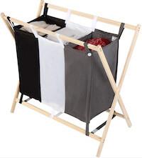 Praktisk vasketøjskurv med 3 sorteringsrum i polyester