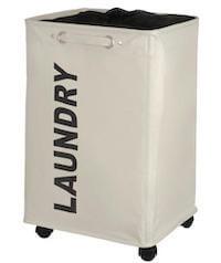 Quadro beige vasketøjskurv med hjul og indbygget håndtag