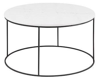 Runa rundt sofabord i hvid marmor og metalstel i sort