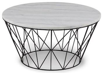 Topeka hvid marmor sofabord og sortlakeret metal ben
