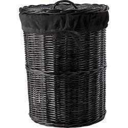 Vallea sort rattan vasketøjskurv med låg og inderpose