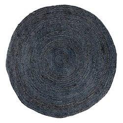 Bombay mørkegrå rundt tæppe i god kvalitet på 180 cm