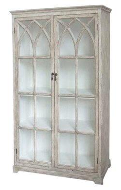 Chic Antique fransk landstil møbel vitrineskab med krydslåger