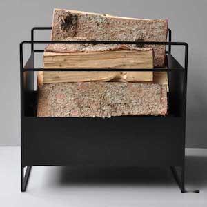Como brændekurv i sort metal i kraftig konstruktion