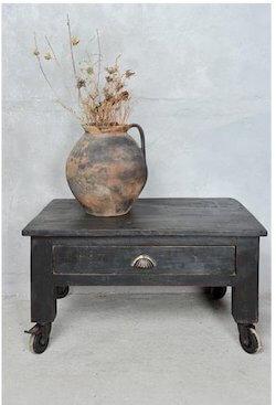 Fransk landstil møbel sort sofabord med skuffe og hjul