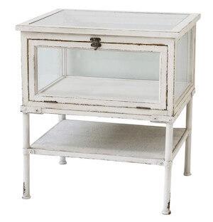 Lunel Chic Antique hvid kommode i vintage stil med glas