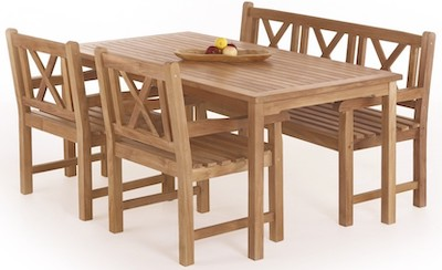 Blokhus massiv teak havemøbelsæt med bænk og 2 stole i god kvalitet
