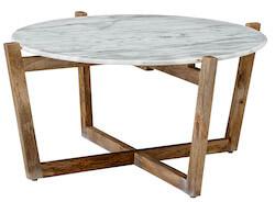 Bloomingville natur sofabord med marmor og genbrugstræ ben