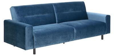 Casperia sovesofa i blå velour betræk i moderne look
