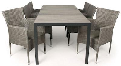 Cebu grå havemøbler med 6 stabelstole i flet og flot bord i keramik